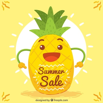 Glückliche Ananas Hintergrund mit Sonne