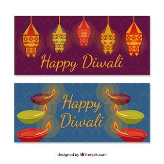 Glückliche diwali dekorative Fahnen