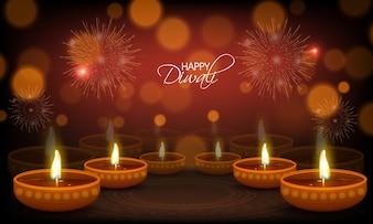 Glückliche Diwali Grußkarte mit beleuchteten Öllampen.