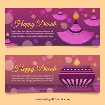 Glückliche diwali lila Fahnen