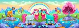 Glückliche Einhörner in einer Landschaft der Träume Vector Cartoon Illustration