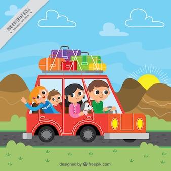 Glückliche Familie Hintergrund in einem Auto unterwegs