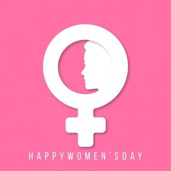 Glückliche Frauen Tag mit Frauen unterzeichnen und Gesicht auf rosa Hintergrund