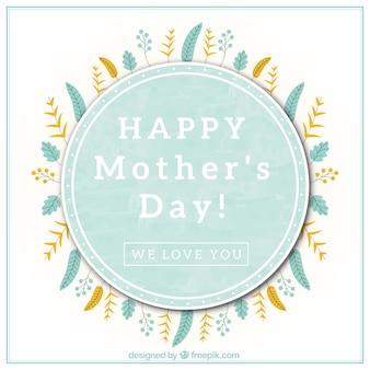Glückliche Mutter Tag Hintergrund mit Hand gezeichneten Blätter