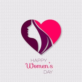 Glückliche Womens Day Grußkarte Geschenkkarte auf mit Design von Frauen ins Gesicht und Text 8. März Internatinoal Frauen Tag