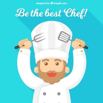 Glücklicher Chef mit Kochutensilien