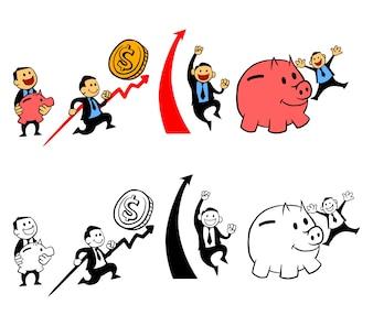 Glücklicher Geschäftsmann Und Piggy Bank
