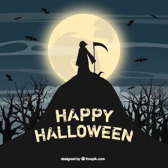 Glücklicher Halloween-Hintergrund mit Toten auf dem Hügel