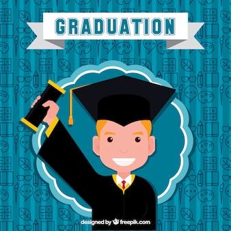 Glücklicher Junge mit seinem Diplomhintergrund