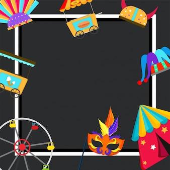Glücklicher Karneval Hintergrund mit Stall. Schaukel, Maske, Zelt und Jester Hut.
