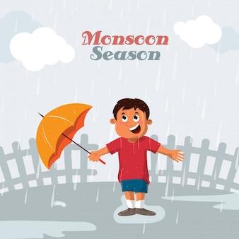 Glücklicher kleiner Junge, der einen orange Regenschirm hält und im Regen steht, Vektor für Monsun-Jahreszeit.