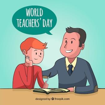 Glücklicher Lehrer Tag, ein Kind lernen