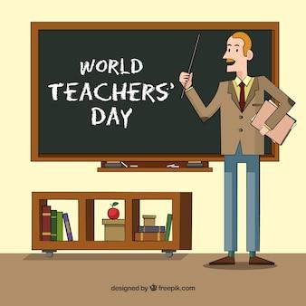 Glücklicher Lehrertag, ein Lehrer im Klassenzimmer