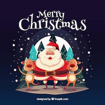 Glücklicher Weihnachtsmann mit lustigen Rentieren