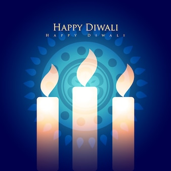 Glückliches diwali Design mit Kerzen