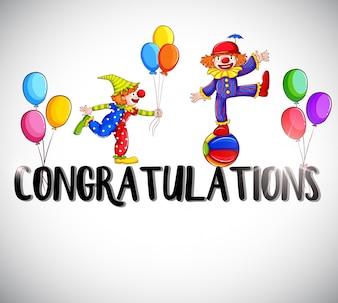 Glückwunschkarte Vorlage mit Clowns im Hintergrund