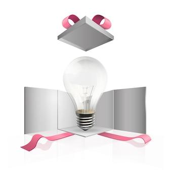 Glühbirne im Geschenkkasten