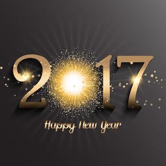 Gold Frohes Neues Jahr Hintergrund mit Feuerwerk-Design