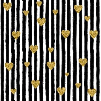 Gold-Herzen auf schwarzem handdrawn Linie Trendy nahtlose Muster Verwendung im Design Vektor-Illustration feiern