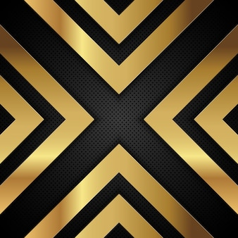 Gold metallic Pfeil Formen auf einem perforierten Metall Hintergrund