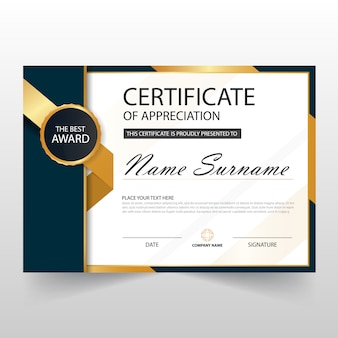 Gold schwarz ELegant horizontale Zertifikat mit Vektor-Illustration