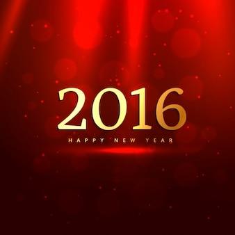 Golden 2016 in rotem Hintergrund Bokeh