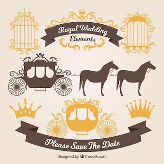 Goldene Hochzeitskarren und Ornamente