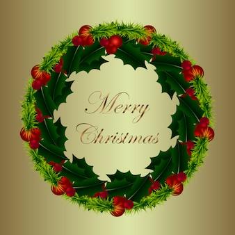 Goldene Karte für Weihnachten mit Mistelkranz