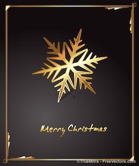 Goldene Schneeflocke Grußkarte