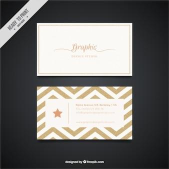 Goldene Visitenkarte mit Zick-Zack-Linien
