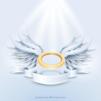 Goldenen Strahlenkranz und weißen Flügeln