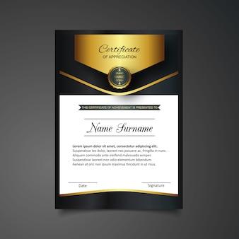Goldenes und schwarzes Zertifikat der Anerkennungsvorlage