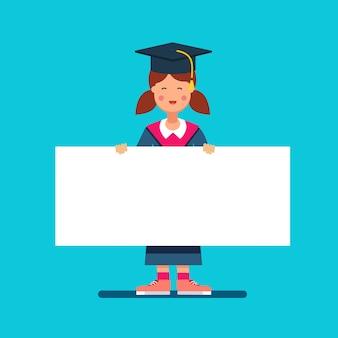 Graduate Student Mädchen in Mörtel Board Hut