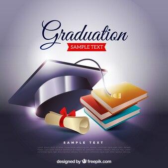 Graduierung Hintergrund mit Biretta und Bücher