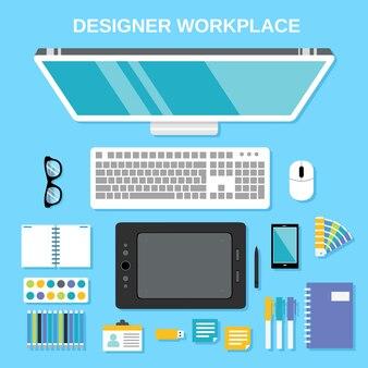 Grafik-Designer-Studio-Tools Arbeitsplatz Top-Ansicht Vektor-Illustration
