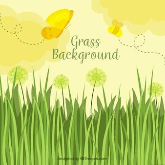Gras Hintergrund mit niedlichen Schmetterlingen