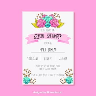 Große Bachelorette Einladung mit niedlichen Blumenschmuck