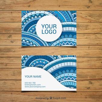 Große Firmenkarte mit Dekoration in den blauen Tönen