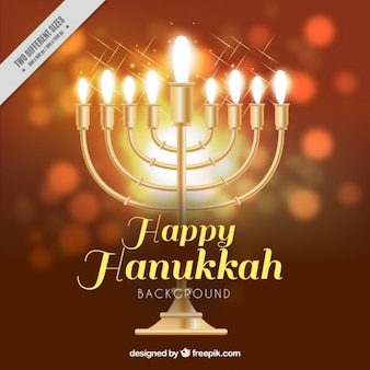 Große Hanukkah Hintergrund mit realistischen Kerzenleuchter