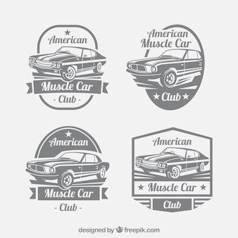 Große Reihe von Auto-Logos im Retro-Stil