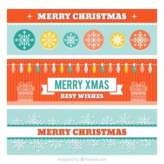 Große Reihe von Weihnachten Banner mit Lichtern und Schneeflocken