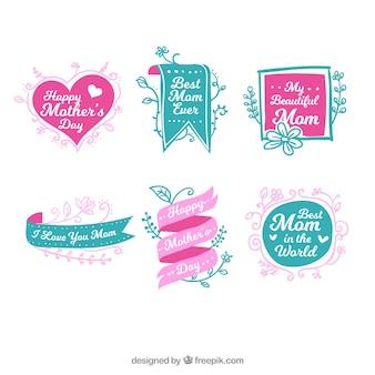 Große Sammlung von grünen und rosa Etiketten für den Tag der Mutter