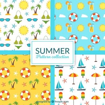 Große Sommermuster mit flachen Objekten