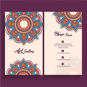 Große Visitenkarte mit dekorativen Mandalas