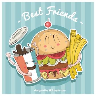 Großer Hintergrund der Fast-Food-Charaktere