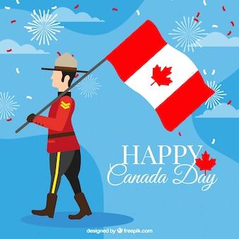 Großer Hintergrund des Soldaten mit Flagge für Kanada Tag