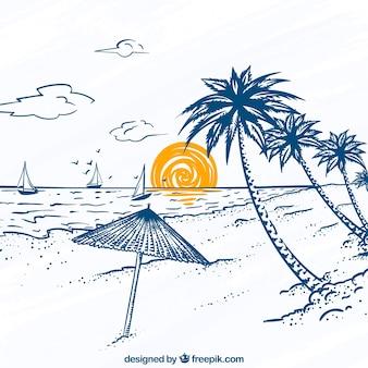 Großer Strandblick mit Palmen und Segelbooten