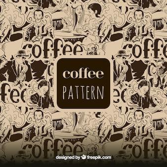 Großes Muster von Menschen trinken Kaffee