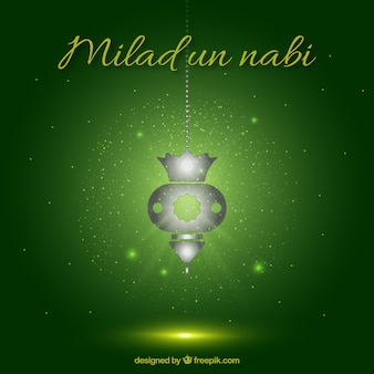 Grün Milad un Nabi Hintergrund mit einer Laterne