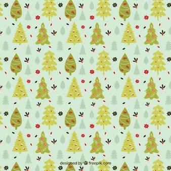 Grüne Weihnachtsbäume Muster